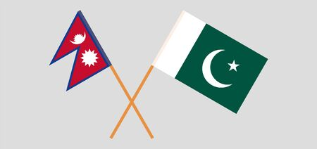 Crossed flags of Nepal and Pakistan. Official colors. Correct proportion. Vector illustration