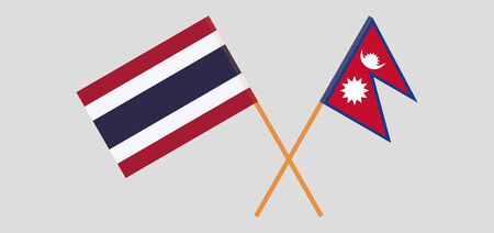Crossed flags of Nepal and Thailand. Official colors. Correct proportion. Vector illustration