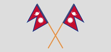 Crossed flags of Nepal. Official colors. Correct proportion. Vector illustration