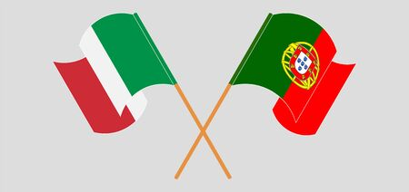 Crossed and waving flags of Portugal and Italy. Vector illustration