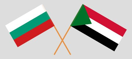 Crossed flags of Sudan and Bulgaria. Official colors. Correct proportion. Vector illustration