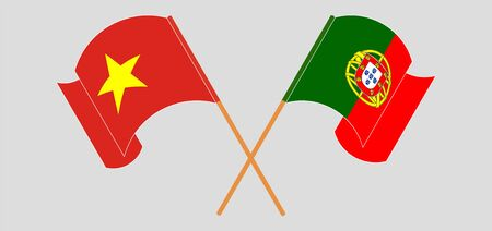 Crossed and waving flags of Portugal and Vietnam. Vector illustration