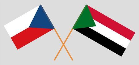 Crossed flags of Sudan and Czech Republic. Official colors. Correct proportion. Vector illustration Ilustração