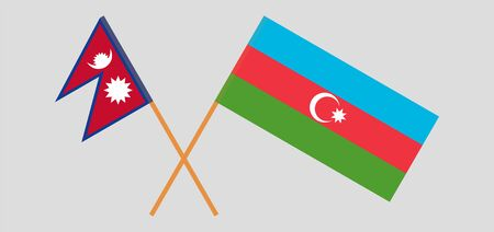 Crossed flags of Nepal and Azerbaijan. Official colors. Correct proportion. Vector illustration