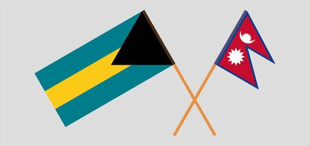 Crossed flags of Nepal and Bahamas. Official colors. Correct proportion. Vector illustration