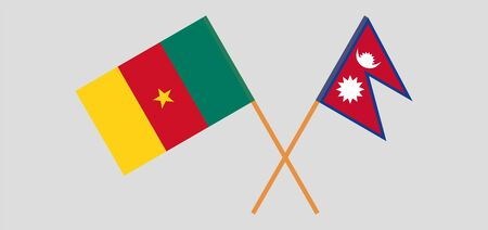 Crossed flags of Nepal and Cameroon. Official colors. Correct proportion. Vector illustration