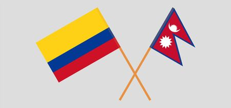 Crossed flags of Nepal and Colombia. Official colors. Correct proportion. Vector illustration