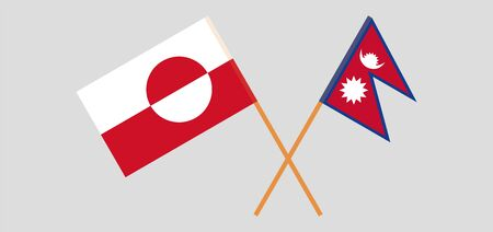 Crossed flags of Nepal and Greenland. Official colors. Correct proportion. Vector illustration