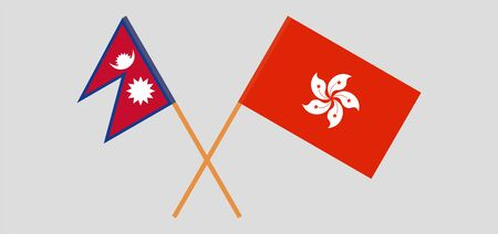 Crossed flags of Nepal and Hong Kong. Official colors. Correct proportion. Vector illustration 向量圖像