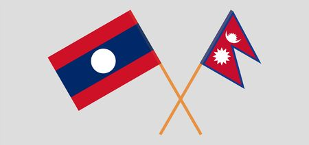 Crossed flags of Nepal and Laos. Official colors. Correct proportion. Vector illustration