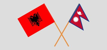 Crossed flags of Nepal and Albania. Official colors. Correct proportion. Vector illustration