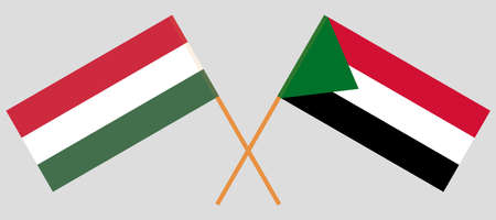 Crossed flags of Sudan and Hungary. Official colors. Correct proportion. Vector illustration