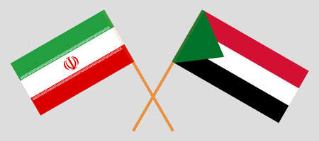 Crossed flags of Sudan and Iran. Official colors. Correct proportion. Vector illustration Ilustracja
