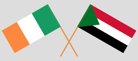 Crossed flags of Sudan and Ireland. Official colors. Correct proportion. Vector illustration