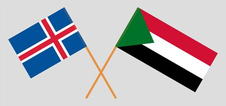 Crossed flags of Sudan and Iceland. Official colors. Correct proportion. Vector illustration