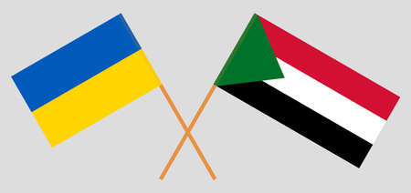 Crossed flags of Sudan and the Ukraine. Official colors. Correct proportion. Vector illustration 写真素材 - 150578394