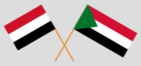 Crossed flags of Sudan and Yemen. Official colors. Correct proportion. Vector illustration  イラスト・ベクター素材