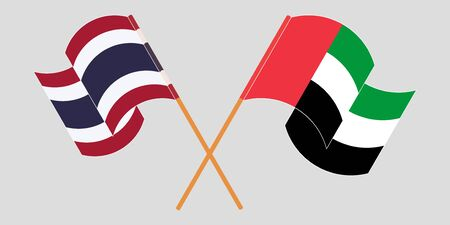 Crossed and waving flags of Thailand and the United Arab Emirates. Vector illustration