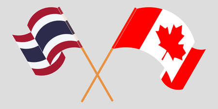Crossed and waving flags of Thailand and Canada. Vector illustration 写真素材 - 150578396