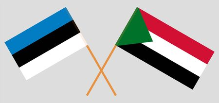 Crossed flags of Sudan and Estonia. Official colors. Correct proportion. Vector illustration