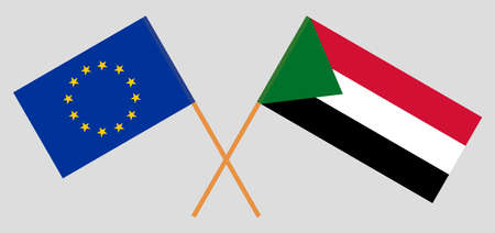 Crossed flags of Sudan and the EU. Official colors. Correct proportion. Vector illustration