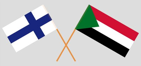 Crossed flags of Sudan and Finland. Official colors. Correct proportion. Vector illustration