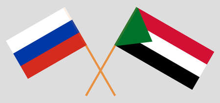 Crossed flags of Sudan and Russia. Official colors. Correct proportion. Vector illustration 写真素材 - 150578399