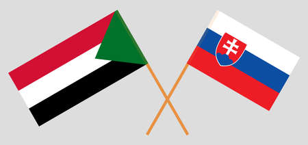 Crossed flags of Sudan and Slovakia. Official colors. Correct proportion. Vector illustration 写真素材 - 150578405