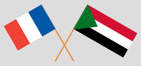 Crossed flags of Sudan and France. Official colors. Correct proportion. Vector illustration  イラスト・ベクター素材