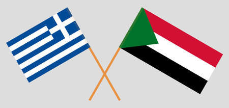 Crossed flags of Sudan and Greece. Official colors. Correct proportion. Vector illustration