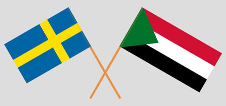 Crossed flags of Sudan and Sweden. Official colors. Correct proportion. Vector illustration