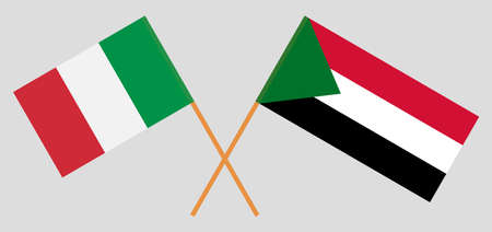 Crossed flags of Sudan and Italy. Official colors. Correct proportion. Vector illustration