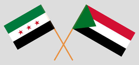 Crossed flags of Sudan and Interim Government of Syria. Official colors. Correct proportion. Vector illustration