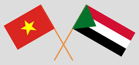 Crossed flags of Sudan and Vietnam. Official colors. Correct proportion. Vector illustration  イラスト・ベクター素材