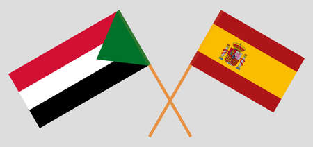 Crossed flags of Sudan and Spain. Official colors. Correct proportion. Vector illustration