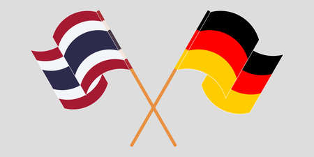 Crossed and waving flags of Thailand and Germany. Vector illustration 写真素材 - 150578416