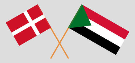 Crossed flags of Sudan and Denmark. Official colors. Correct proportion. Vector illustration 写真素材 - 150578418
