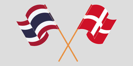 Crossed and waving flags of Thailand and Denmark. Vector illustration 写真素材 - 150578420