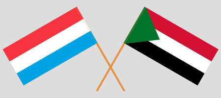 Crossed flags of Sudan and Luxembourg. Official colors. Correct proportion. Vector illustration