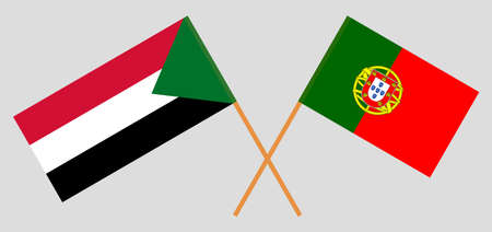 Crossed flags of Sudan and Portugal. Official colors. Correct proportion. Vector illustration