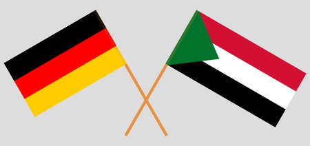 Crossed flags of Sudan and Germany. Official colors. Correct proportion. Vector illustration 写真素材 - 150578424