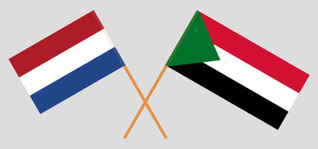 Crossed flags of Sudan and Netherlands. Official colors. Correct proportion. Vector illustration