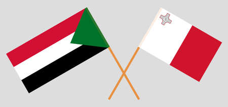 Crossed flags of Sudan and Malta. Official colors. Correct proportion. Vector illustration 写真素材 - 150578427