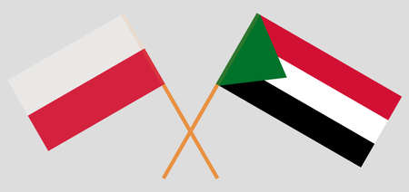 Crossed flags of Sudan and Poland. Official colors. Correct proportion. Vector illustration 写真素材 - 150578428