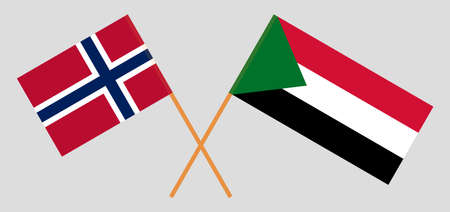 Crossed flags of Sudan and Norway. Official colors. Correct proportion. Vector illustration 写真素材 - 150578429