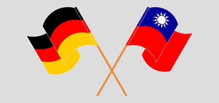 Crossed and waving flags of Taiwan and Germany. Vector illustration