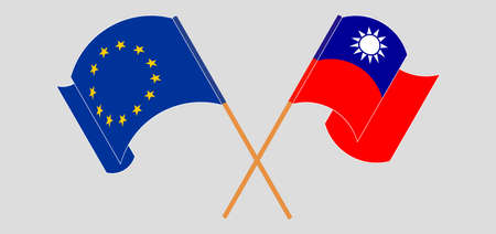 Crossed and waving flags of Taiwan and the EU. Vector illustration