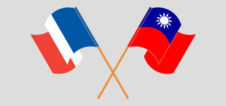 Crossed and waving flags of Taiwan and France. Vector illustration