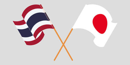 Crossed and waving flags of Thailand and Japan. Vector illustration Illustration