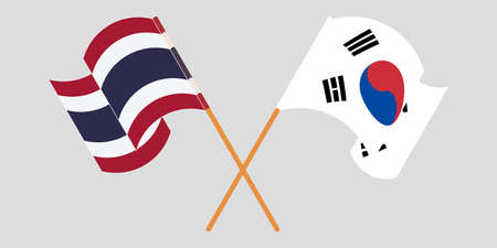 Crossed and waving flags of Thailand and South Korea. Vector illustration